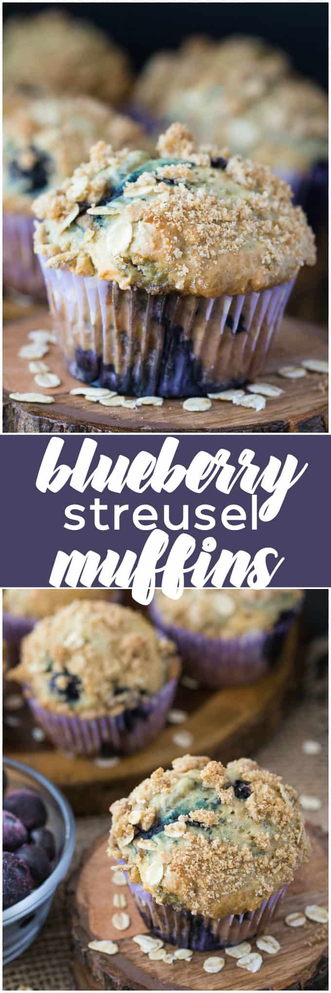Blueberry Streusel Muffins - Cinnamon sugar topping sets these blueberry muffins apart! Packed with sweet blueberries and topped with a crunchy oat topping, these muffins are delicious fresh out of the oven with a little butter.