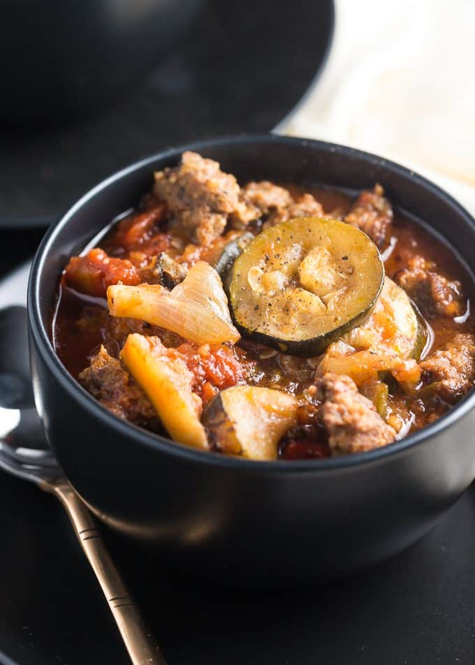 Italian Sausage & Vegetable Stew - A delicious, hearty stew packed with Italian sausage and Mediterranean veggies.