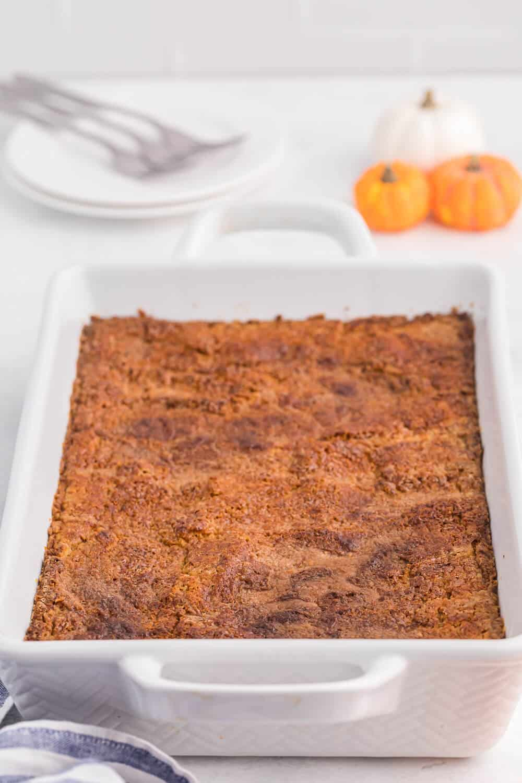 Pumpkin dump cake in a casserole pan
