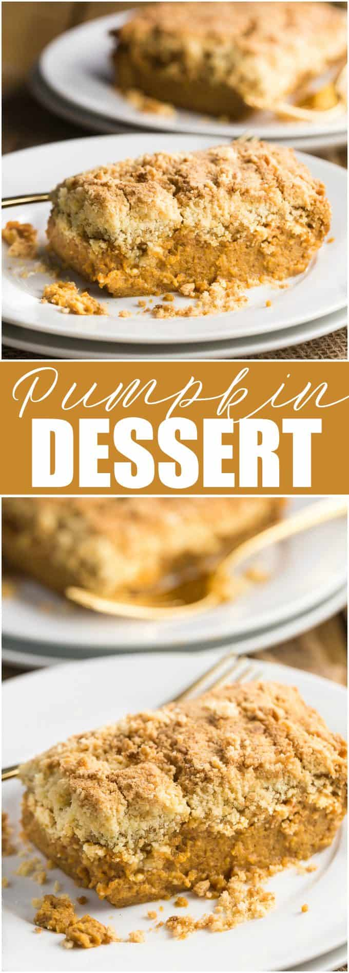 Pumpkin Dessert - Made with yellow cake mix! Easy to prepare and tastes as good as pumpkin pie.