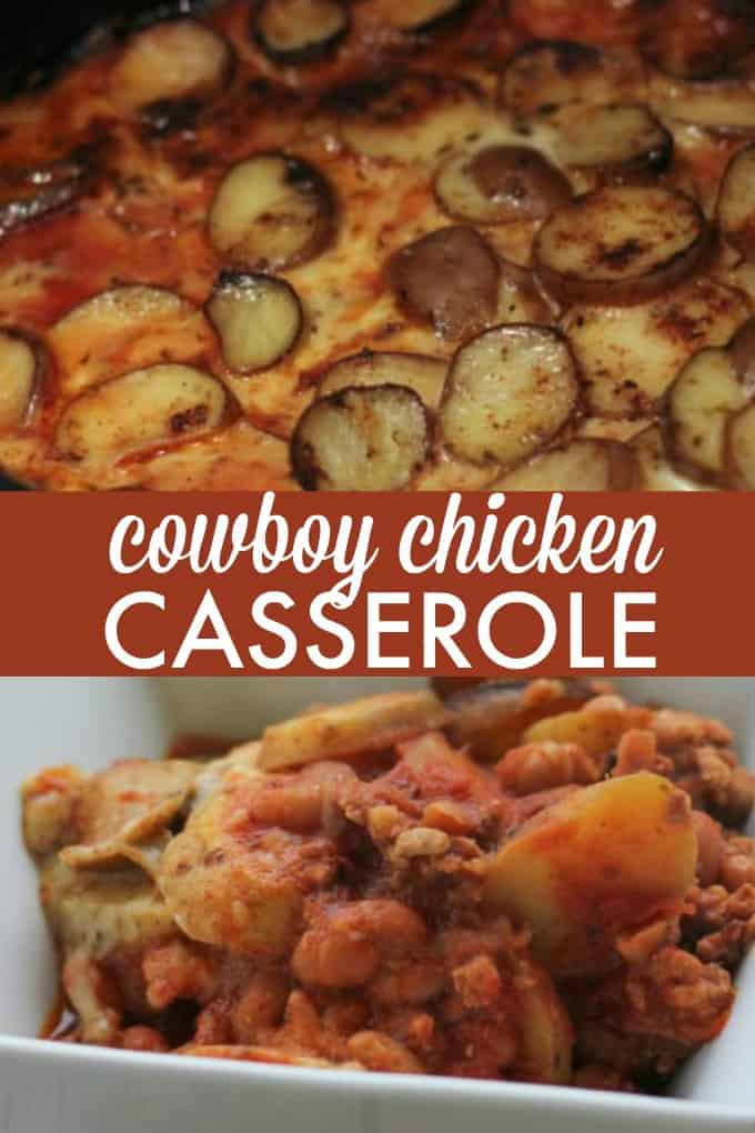 Cowboy Chicken Chili Casserole - Layers of chili, beans and potatoes for a hearty meal made in the slow cooker!