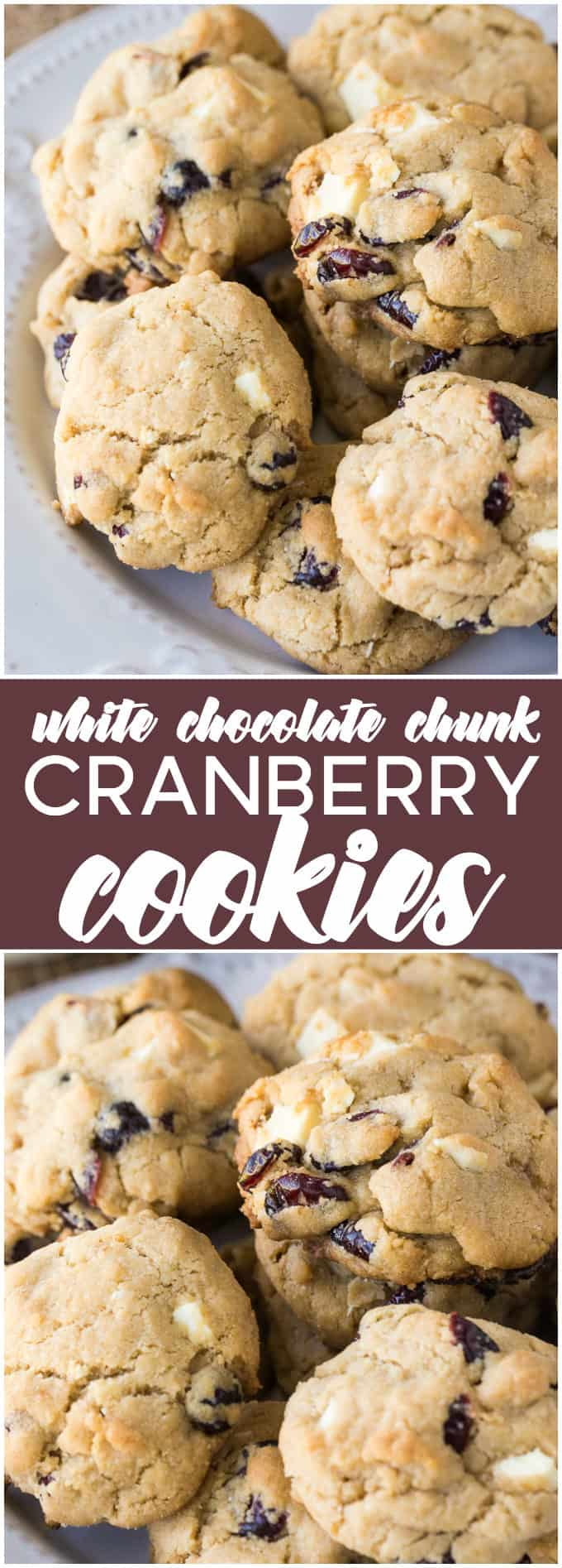 White Chocolate Chunk Cranberry Cookies - Festive cookies perfect for a Cookie Exchange!