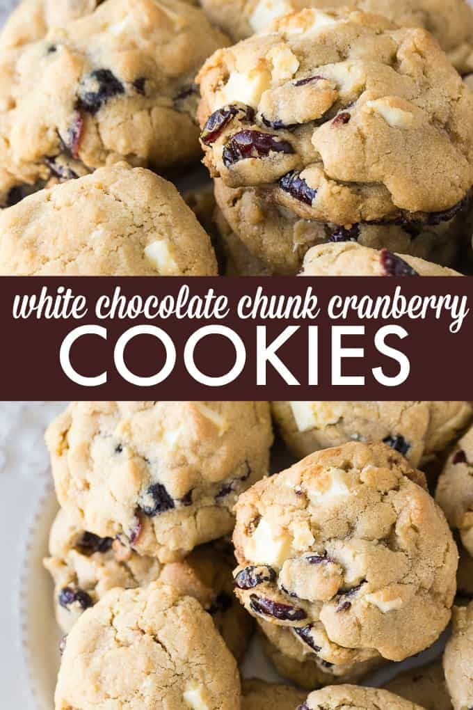White Chocolate Chunk Cranberry Cookies - The sweetness of white chocolate is offset by the tangy kick from dried cranberries. These are the perfect big batch cookie, and are great for a holiday cookie exchange!