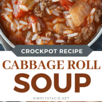 Cabbage Roll Soup gives you all those classic flavors of a cabbage roll, but in a hearty and comforting soup. Minimal prep required to make this hearty cabbage soup. #soup #recipe #cabbage #best #easy #rice #tomatobased