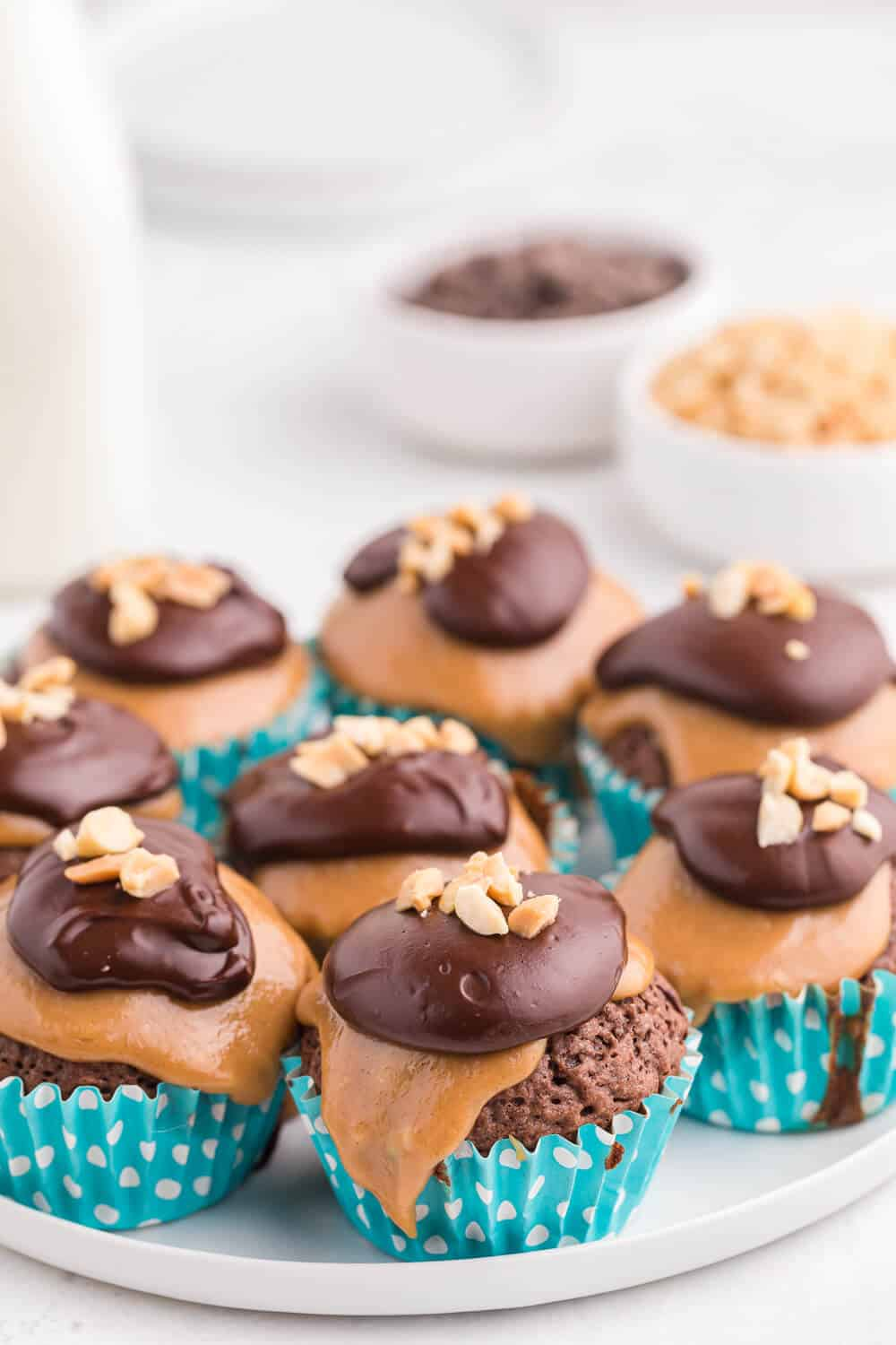 peanut butter brownie cupcakes on a white plate