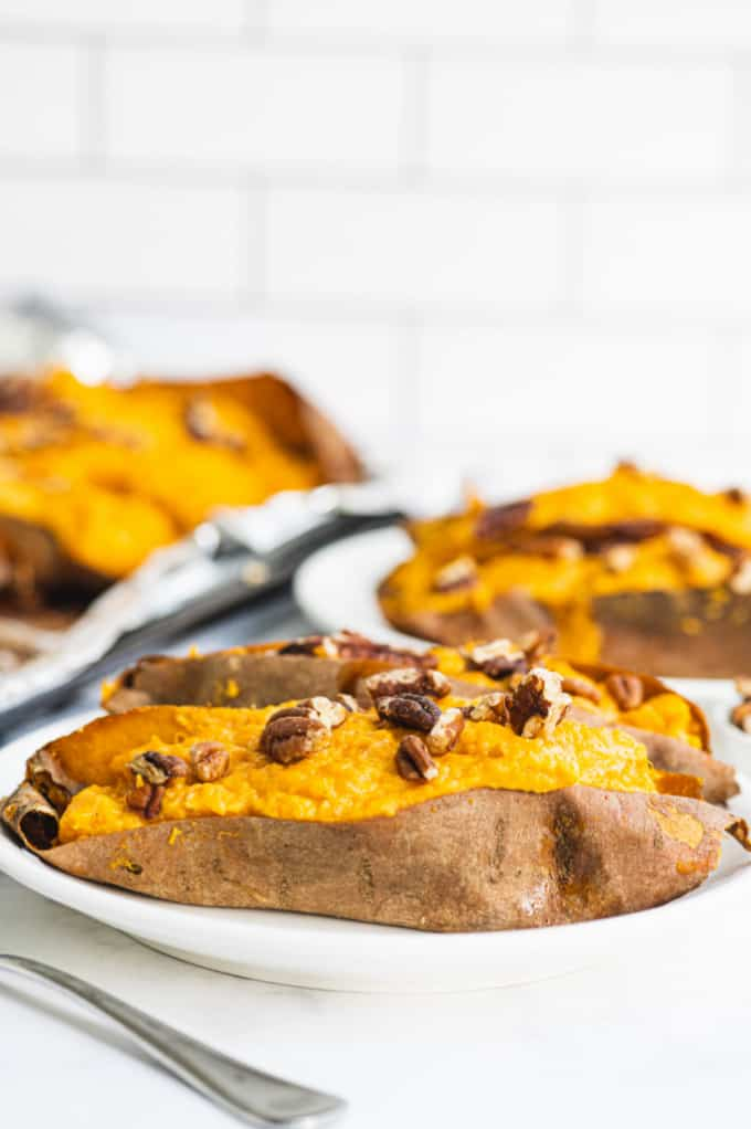 Twice Baked Sweet Potatoes - Creamy and rich made with maple syrup and cream cheese. One of my fave sides!