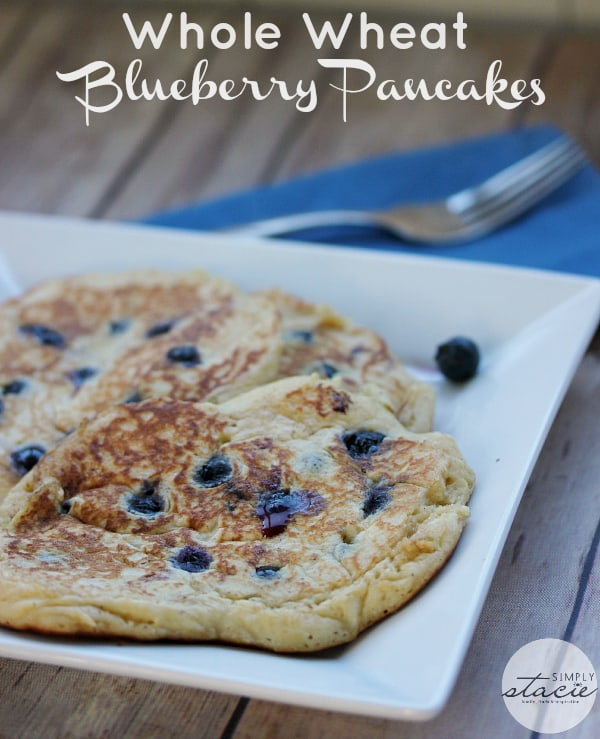 Whole Wheat Blueberry Pancakes Recipe #littlechanges - Simply Stacie