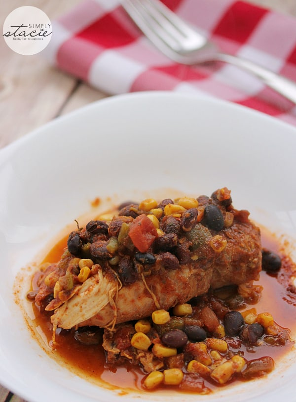 Slow Cooker Salsa Chicken - Tender juicy chicken breasts slow cooked in a spicy salsa sauce!