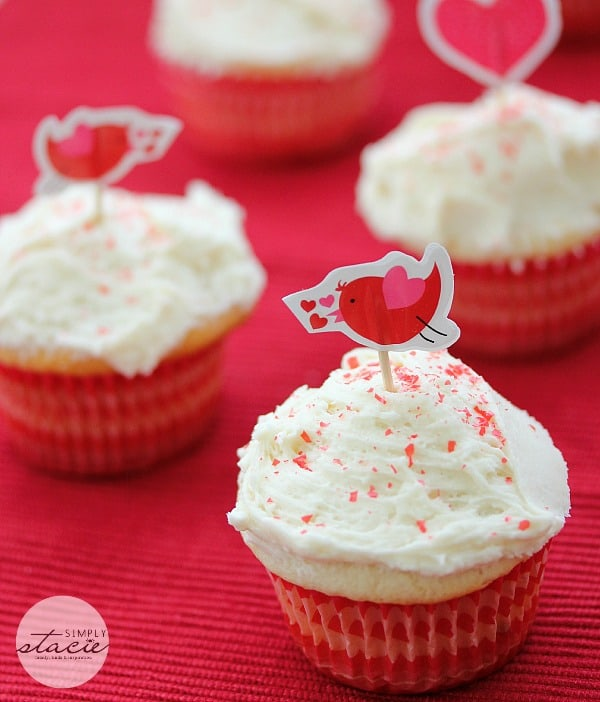 Valentine's Day Cupcakes - A delicately sweet cupcake topped with a creamy traditional buttercream icing is the perfect way to show the love of your life how much you care. These cupcakes can be dressed up for any occasion by using themed liners and different toppings.