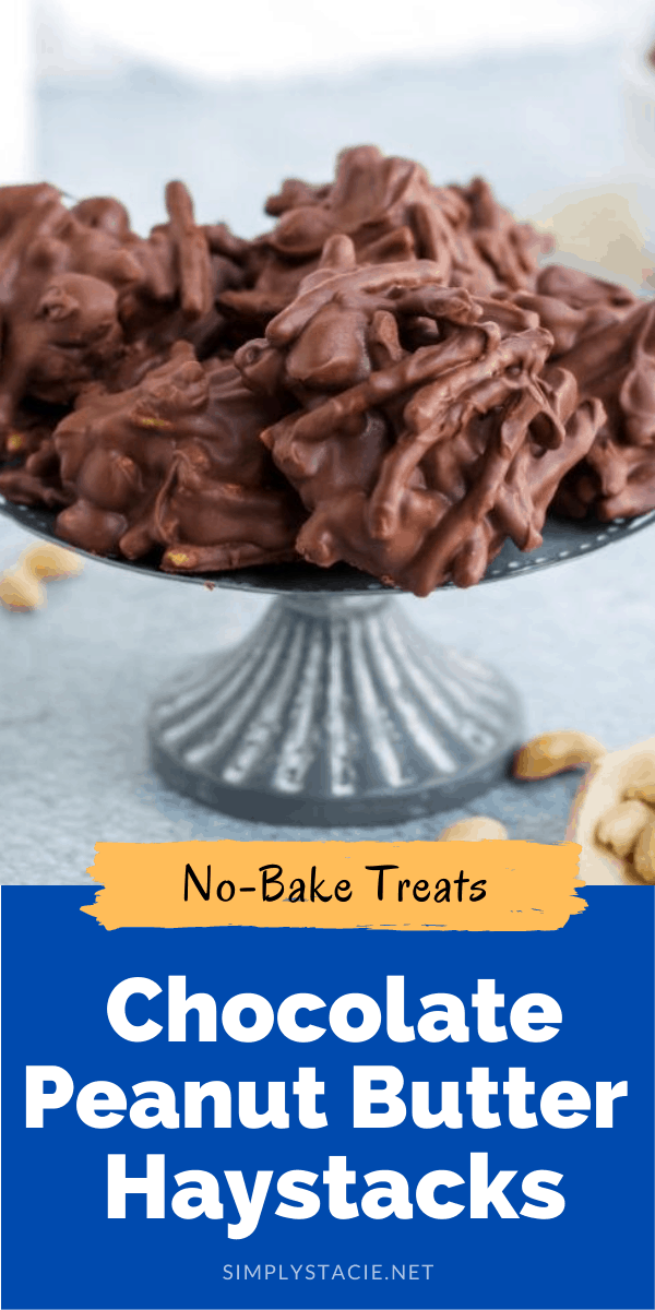 No-Bake Chocolate Peanut Butter Haystacks - This quick and easy four ingredient recipe is the perfect beginner recipe. Keep the kids busy in the kitchen making these crunchy, peanut buttery and chocolately classics!