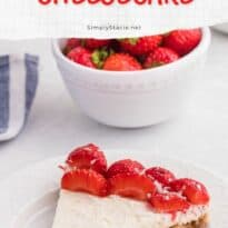 strawberry no bake cheesecake slice on a plate