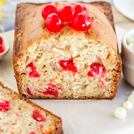 White Chocolate Cherry Banana Bread - This is a great twist on traditional banana bread - chocked full of maraschino cherries and white chocolate. If you added in some nuts and milk chocolate, it would taste just like a banana split!