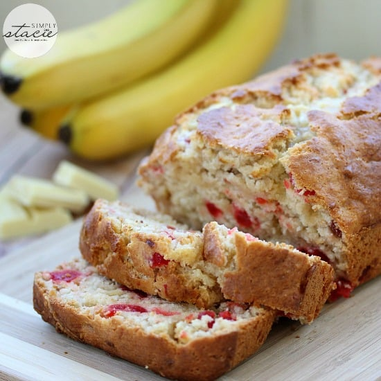 White Chocolate Cherry Banana Bread - my version of banana bread with a sweet twist!