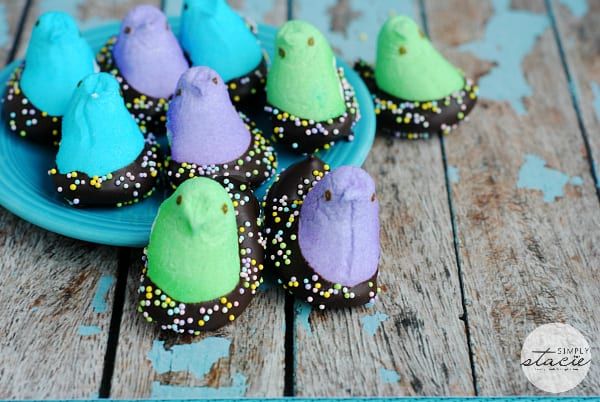 Chocolate Dipped Chick Peeps - Add some chocolate and sprinkles to your Peeps!