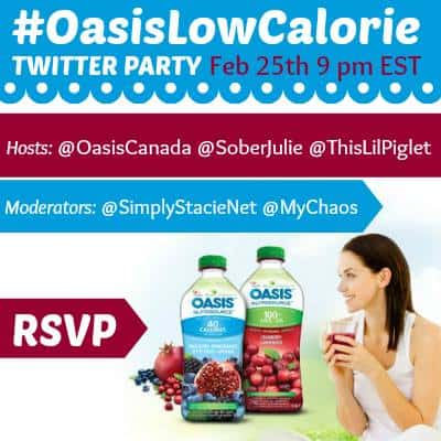 Oasis Nutrisource Contest + #OasisLowCalorie Twitter Party