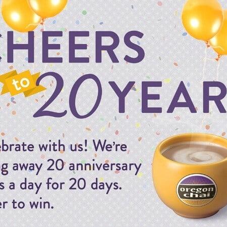 Oregon Chai Cheers to 20 Years Giveaway