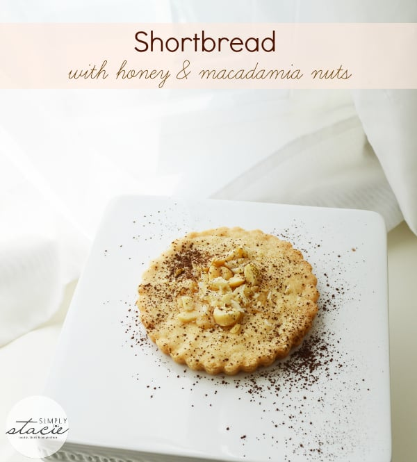 Shortbread with Honey & Macadamia Nuts - Shortbread is always a crowd pleaser. These shortbread cookies are taken to the next level with the addition of macadamia nuts and honey, and will look fantastic on your holiday cookie tray!