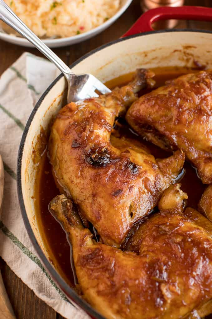 Hurry Chicken - This hands-off chicken dish is perfect for meal prep! Just five pantry ingredients for a delicious budget dinner. This recipe was passed down from my grandmother and is always a hit!