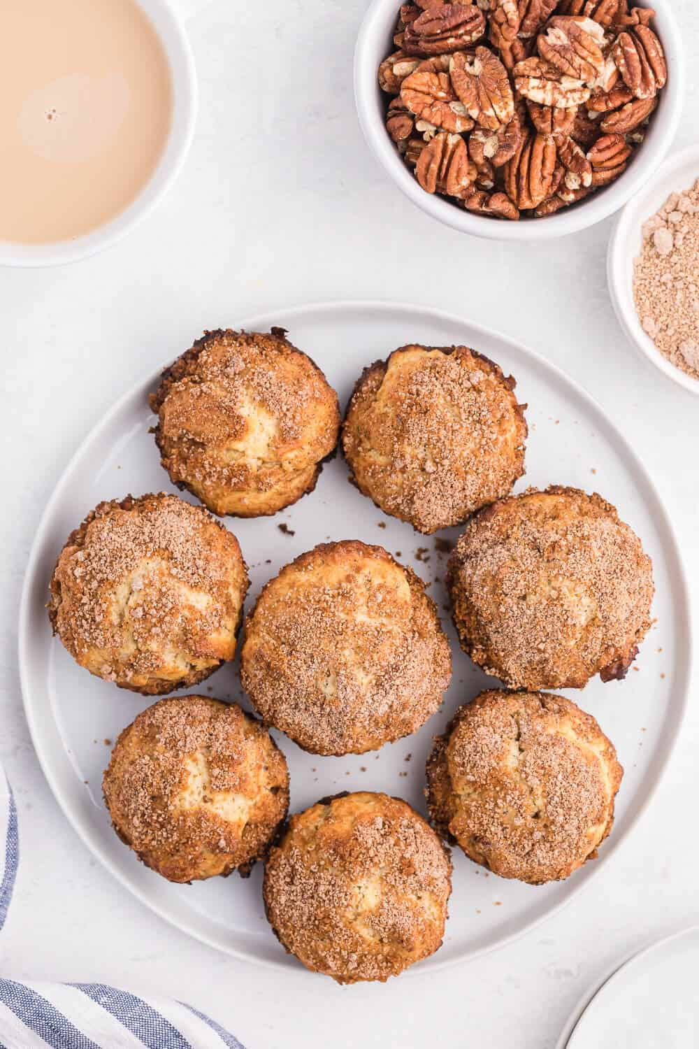pecan coffee cake muffins on a plate