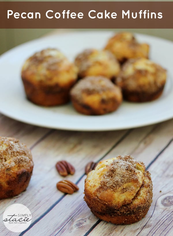 Pecan Coffee Cake Muffins - Much quicker to make than coffee cake! These pecan-packed muffins have the flavour of a coffee cake, but in handheld form - and in far less time.