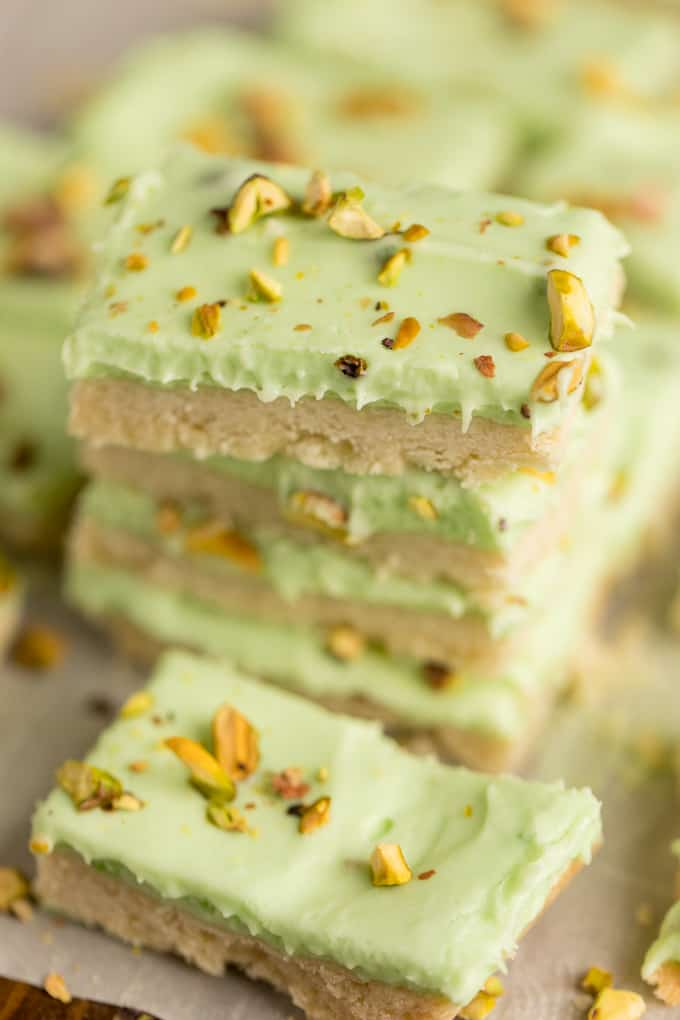 Pistachio Cream Bars - Made with a shortbread cookie base and filling that is a cross between a pudding and cheesecake.