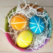 Rubber Band Decorated Easter Eggs