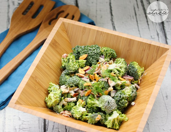 Broccoli Salad with Homemade Ranch Dressing - Perfect for your next barbecue with this dairy-free salad recipe! This easy vegetable side dish is super crunchy with loads of fresh broccoli, red onion, bacon, golden raisins and almonds and is covered in a creamy dairy-free homemade ranch dressing.