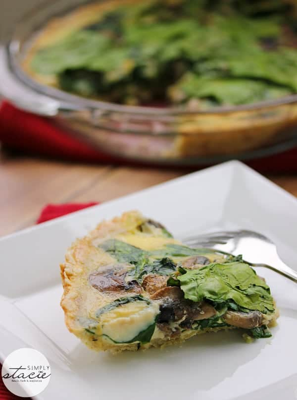 Spinach Mushroom Quiche- Fresh baby spinach, sliced mushrooms nestled in a creamy blend of eggs!