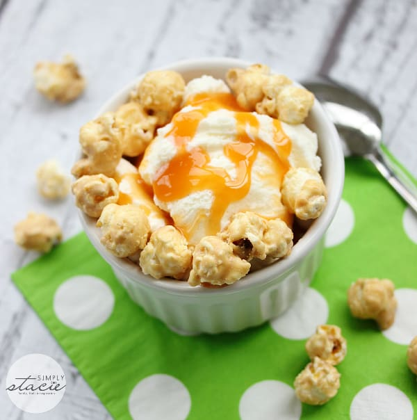 Sweet & Salty Caramel Crunch Sundae - Add some caramel popcorn to your next sundae for a sweet & salty delight!