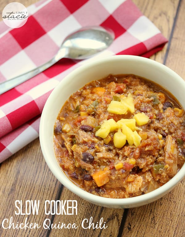 Slow Cooker Quinoa Chicken Chili - a delicious twist on a classic! Made with quinoa, mango and a surprise ingredient.