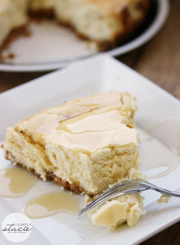 Maple Syrup Cheesecake - This might be the most Canadian cheesecake ever made! Using maple syrup to sweeten the cheesecake batter, and with maple syrup drizzled on top before serving, this smooth and creamy cheesecake is a great year round recipe - and perfect for a Canada Day celebration.