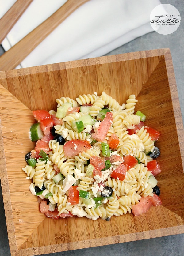 Greek Pasta Salad- one of my all-time favorite pasta salad recipes. Don't count on any leftovers with this recipe!