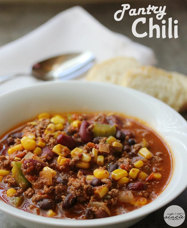 Pantry Chili - A simple, hearty soup made with just pantry staples! This beefy chili recipe is packed with corn, black beans, tomatoes, and kidney beans with a homemade seasoning blend for the best homemade chili recipe.