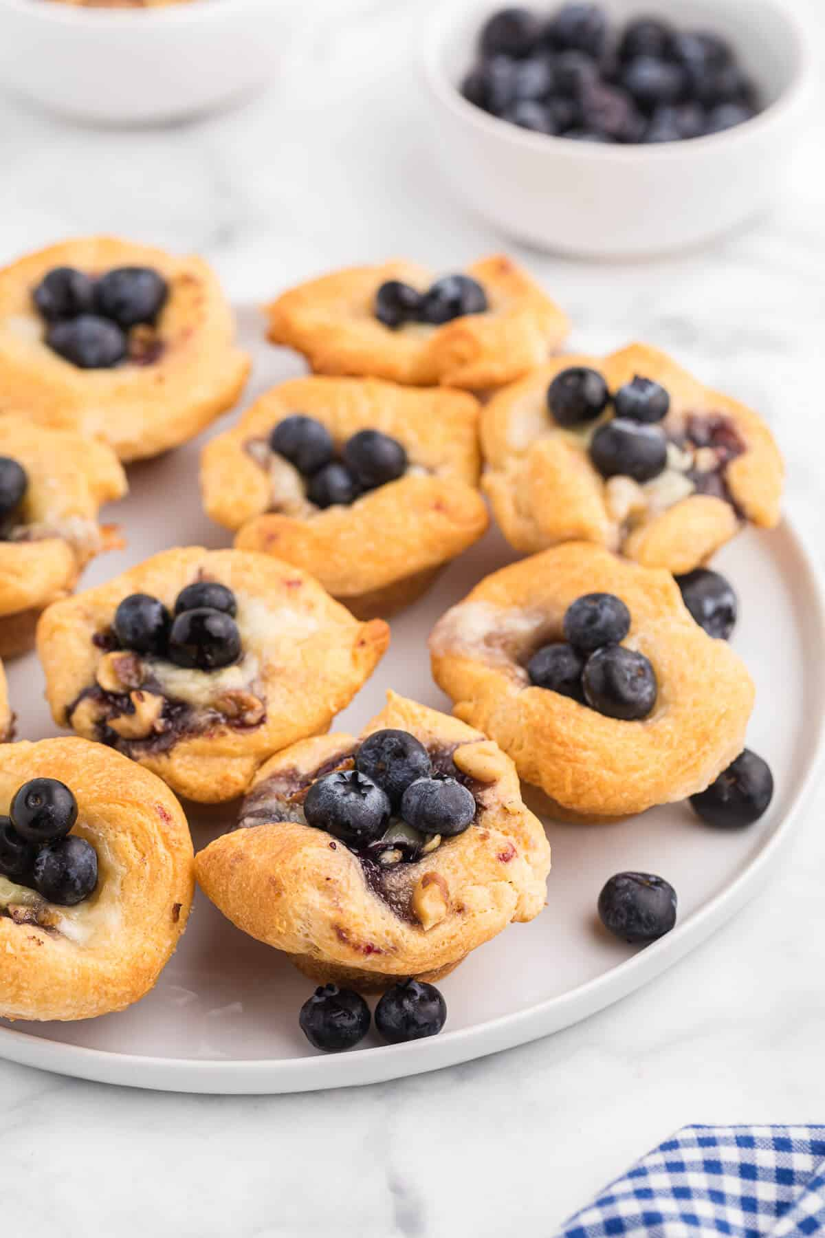 Blueberry Cheese Tarts - Sweet and savory combine in these delicate tarts! Serve as a sweet appetizer or a mini dessert.