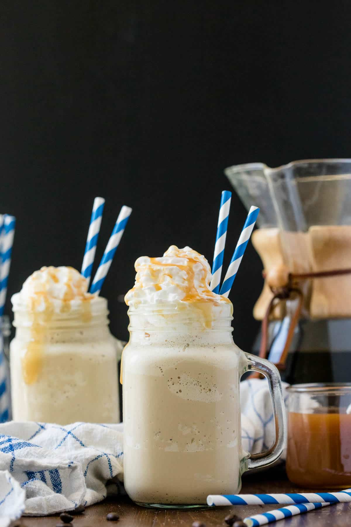 Caramel Coffee Milkshake - Freshly brewed coffee, caramel and vanilla ice cream make the ultimate milkshake. This is the perfect sweet indulgence and caffeine jolt, blended into one delicious treat.