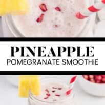 Pineapple Pomegranate Smoothie - Using a coconut milk base for a guilt-free tropical flavour, along with pineapple and banana, this smoothie will transport you to a tropical locale, without paying for a plane ticket!