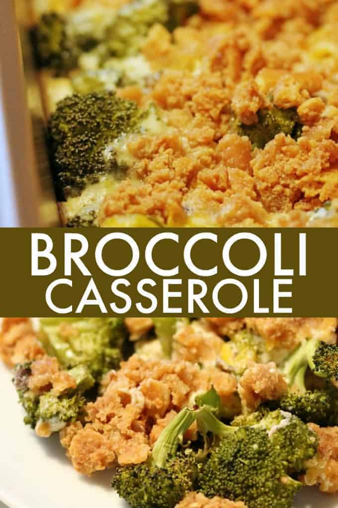 Broccoli Casserole - Delicious recipe for Broccoli Casserole made with cream of mushroom soup, Ritz crackers and loads of cheddar cheese.
