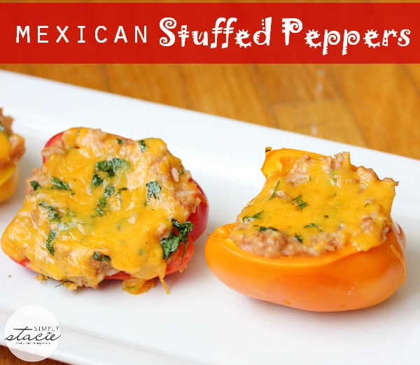Mexican Stuffed Peppers stuffed full of beans, cheese and rice. Perfect for nights you want to skip the meat!