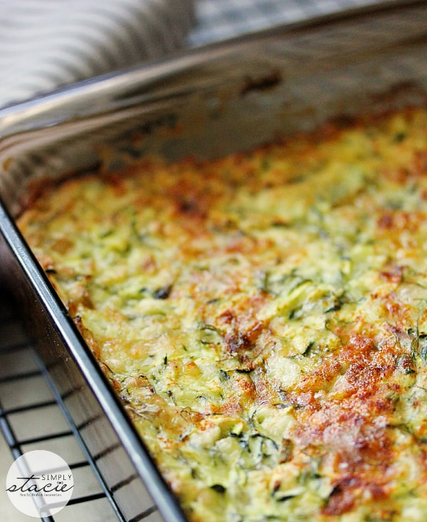 Cheesy Zucchini Bake - This easy cheesy casserole is a great way to make use of a bumper crop of garden zucchini! It makes a great side dish, or a vegetarian main, served with a light, crisp salad.