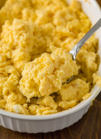 Oven Scrambled Eggs Recipe - These oven baked eggs are the perfect solution to cooking eggs for a crowd. No one likes cold eggs, especially the chef!