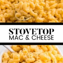 Stovetop Mac & Cheese - Who doesn't love mac and cheese? This quick, creamy and cheesy dish is so simple to make, you will never want mac and cheese from a box again!