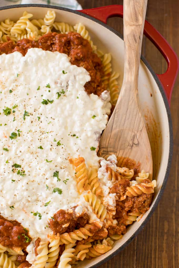 Lasagna Bowl - As tasty as the original without all the work! A quick and simple pasta dish with layers of noodles, sauce, and cheese.
