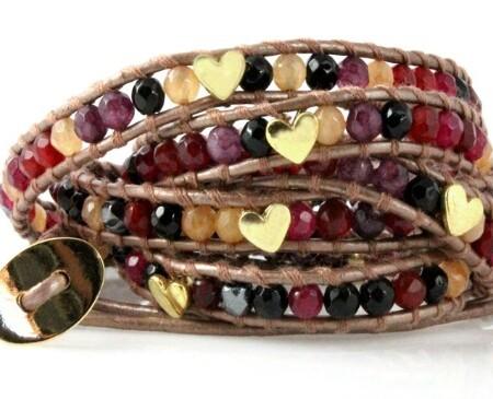 Heart Studded Leather Wrap Bracelet