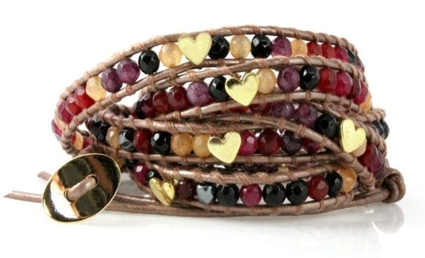 Heart Studded Leather Wrap Bracelet