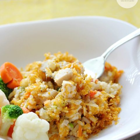 Creamy Chicken & Rice Casserole- a delicious way to get dinner on the table quickly! My family loves this recipe.