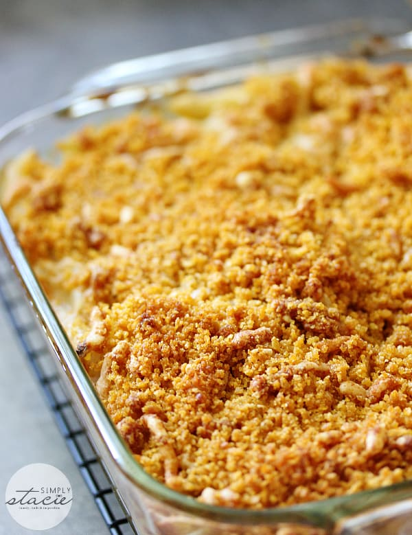 Tuna Noodle Casserole - creamy noodles topped with a crunchy cheesy topping. Chip dip is the secret ingredient!