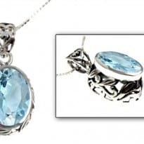 Sky Blue Topaz Gemstone Sterling Pendant Necklace
