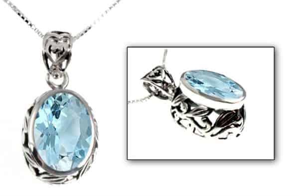Sky Blue Topaz Gemstone Sterling Pendant Necklace