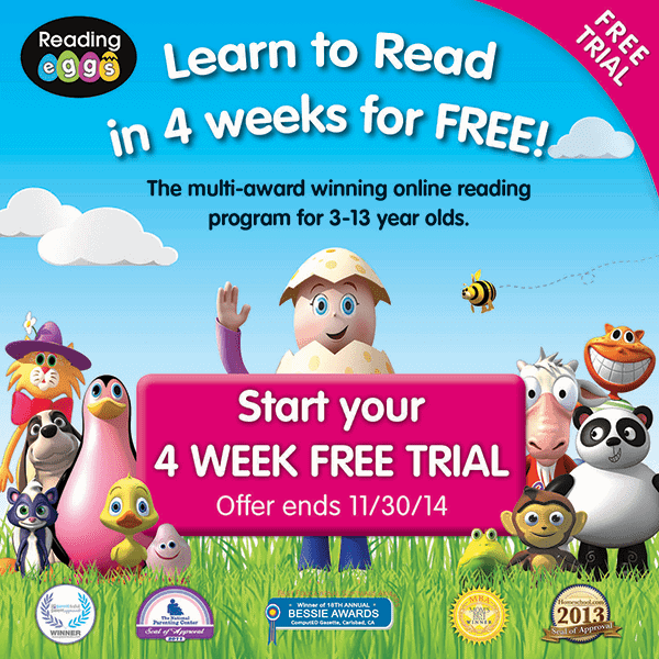 FREE 4 week trial of Reading Eggs
