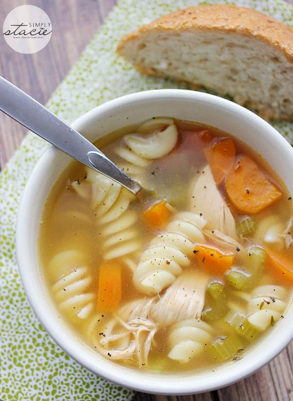 Homemade Chicken Noodle Soup - There's no cozier soup! Packed with celery, carrots, onions, garlic, tender chicken, and yummy thyme for a simple, but perfect soup recipe.